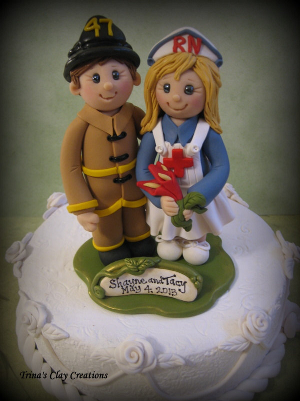 Nurse Bride And Fireman Groom Wedding Cake Topper